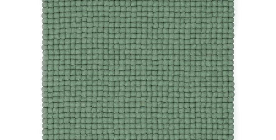 Moss Green wool rug full view.