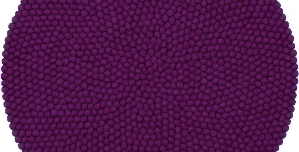 Purple round rug full view.