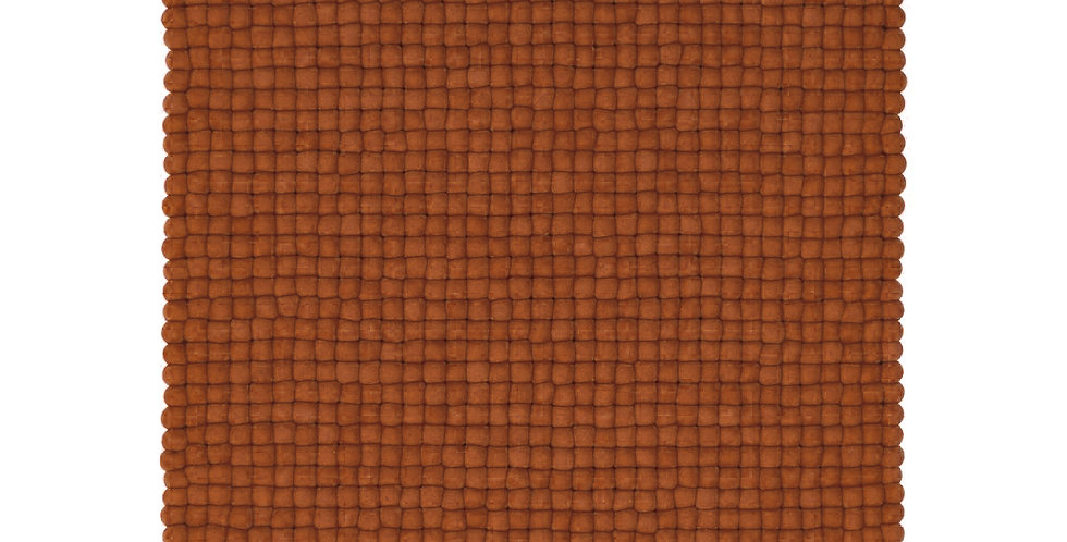 Brown textured wool rug front view.