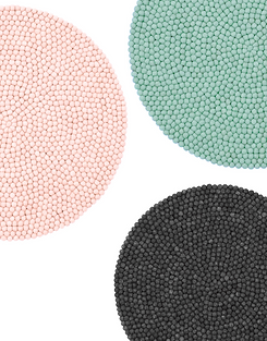 Pink, Blue and black round rugs.