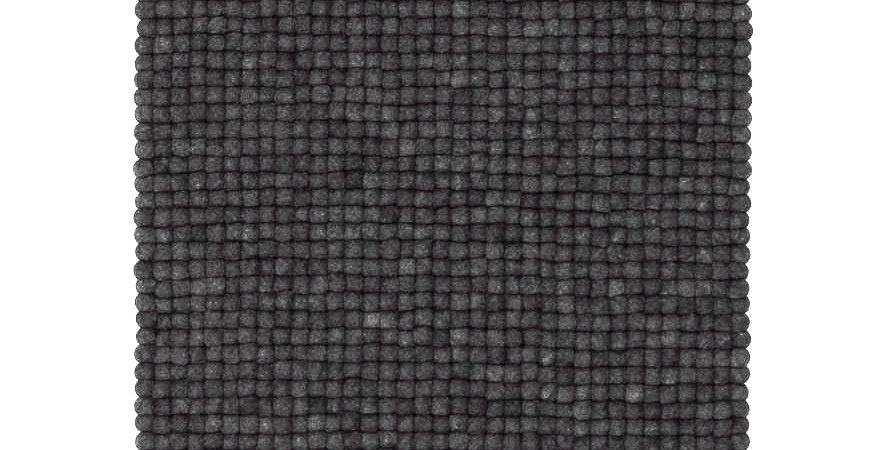 Black felt ball rug full view