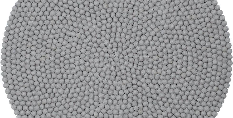 Grey round rug full view.