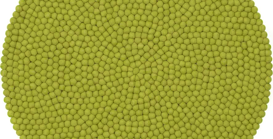 Lime green round rug full view