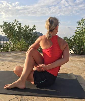 Yoga pose with vicki b