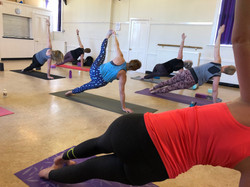 YogaWithVickiB class, side plank yoga pose
