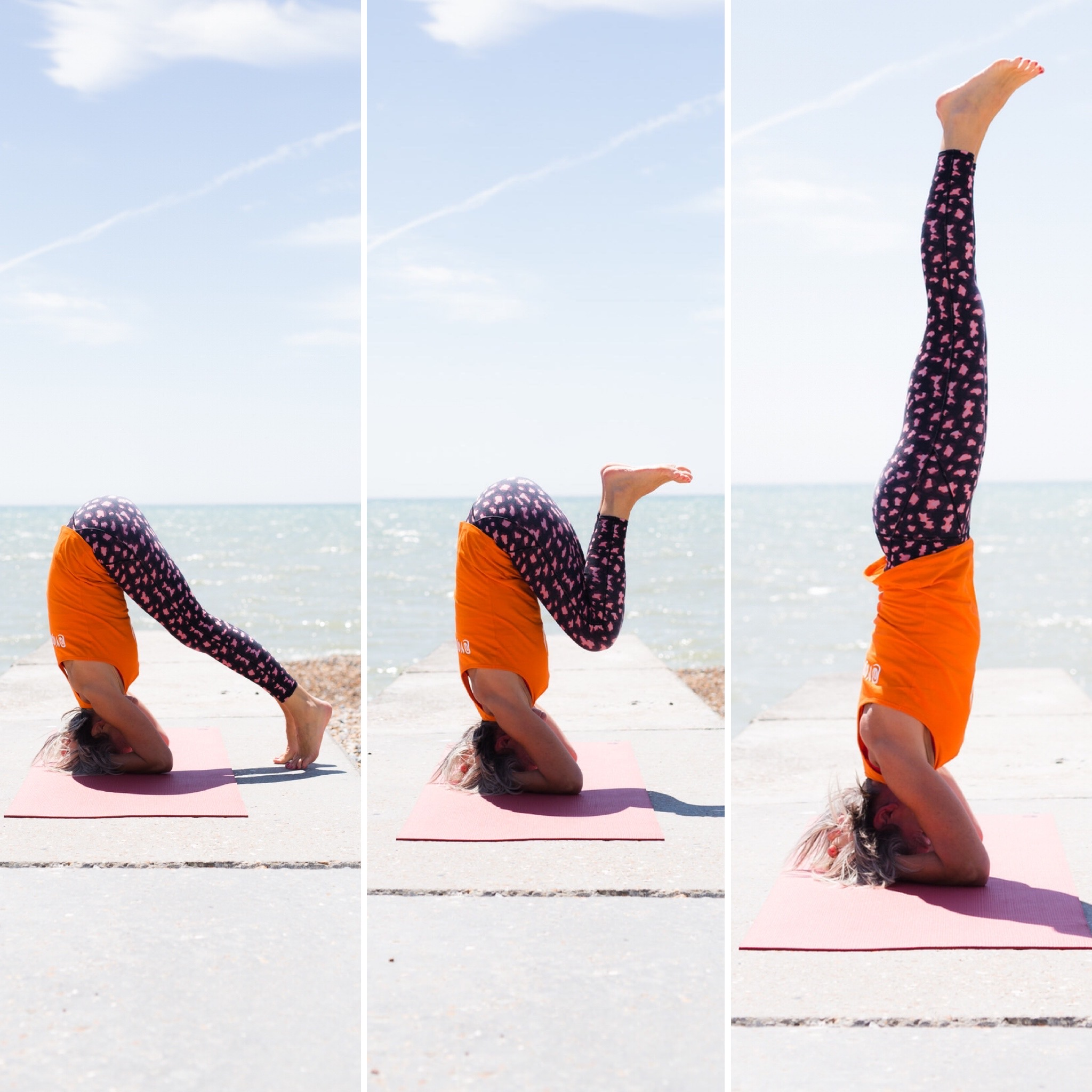 YogaWithVickiB demonstrating three stage sequence to achieve supported headstand