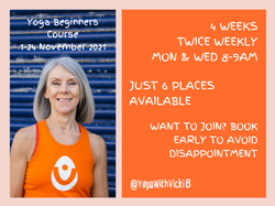 Beginners Course YogaWithVickiB, Nov 2021 Web booking page image