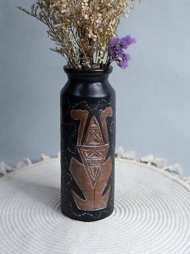 Black x Wood Textured Rustic Vase (Design 5)