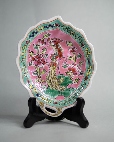Peranakan Scalloped Phoenix Plate with Handle (4 Colours)