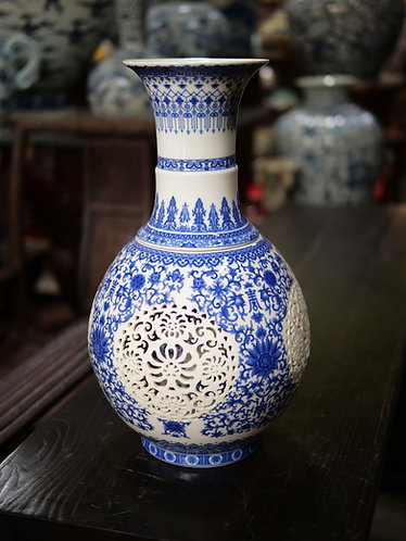 Large Blue and White Double-Walled Vase (Design 2)