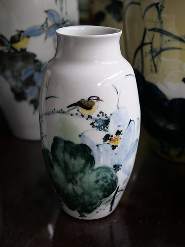 Handpainted Bird and Lotus White Vase (Design 2)