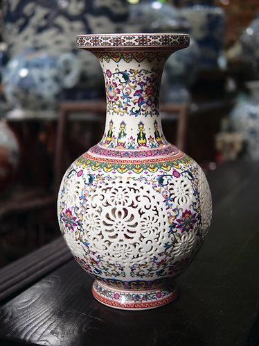 Large Floral Birdsong Double-Walled Vase (Design 1)
