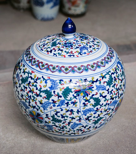 Multicoloured x Blue and White Jar with Lid