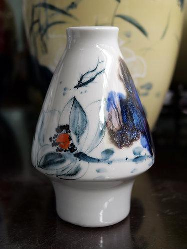 Handpainted Fish and Running Glaze Vase