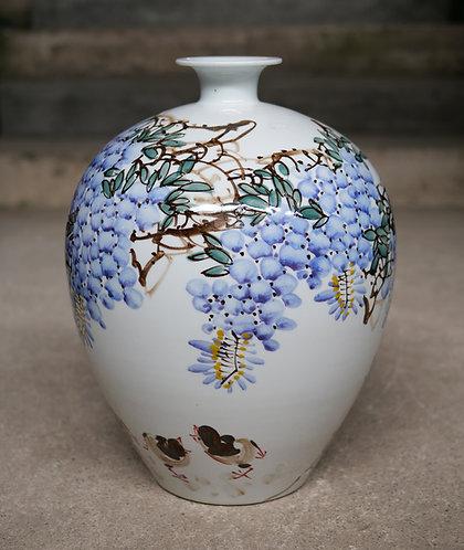 Large Flowers and Birds White Vase