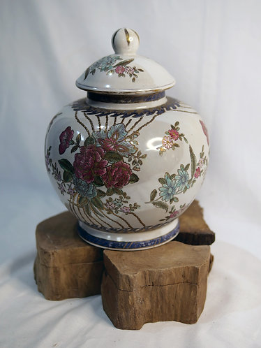 White Floral Jar with Lid