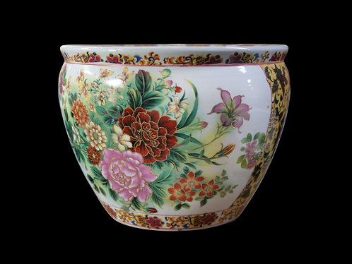 Floral Pot with Yellow Sides (Big)