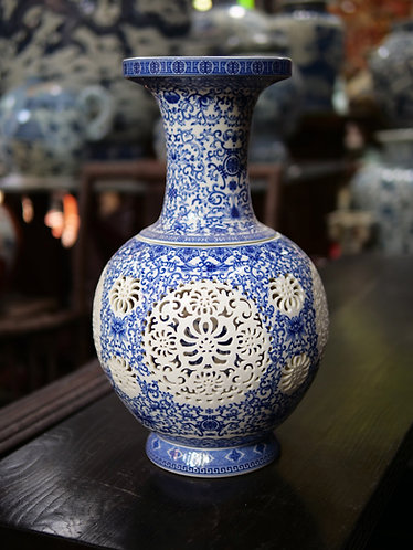 Large Blue and White Double-Walled Vase (Design 1)