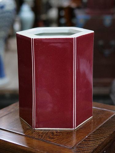 Hexagonal Red Vase