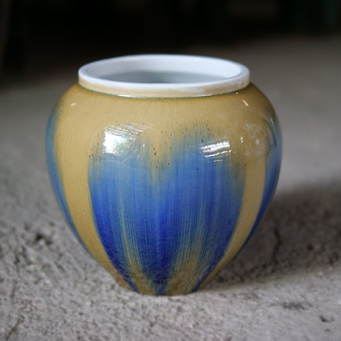 Mustard and Blue Running Glaze Pot