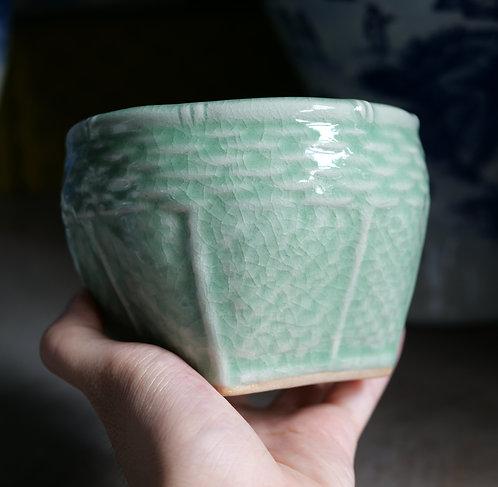 Celadon Crackle Mini Basket