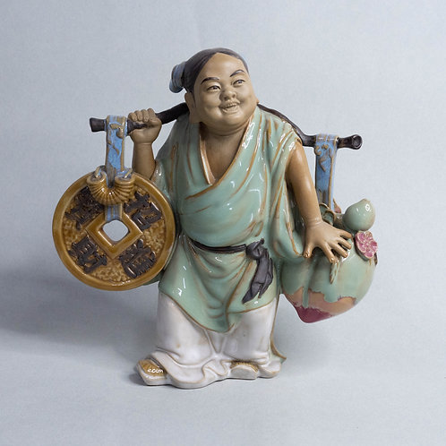 Chinese Female Figurine with Coin and Peach