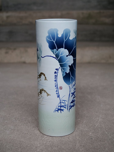 Cylindrical Vase with Shrimps and Plants