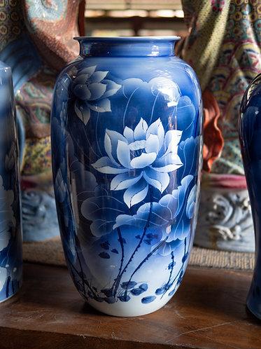 Blue and White Lotus Bloom Vase