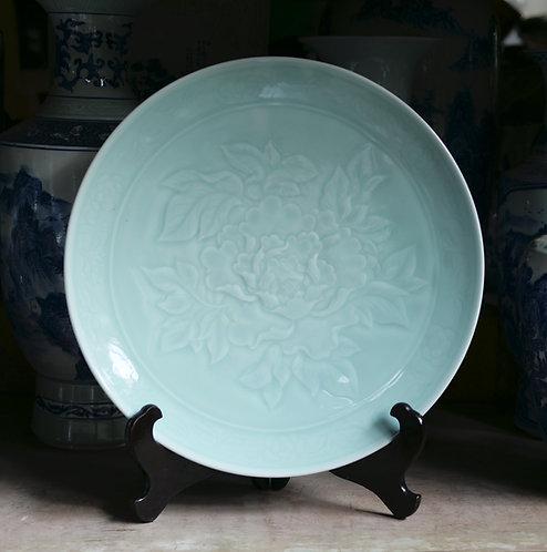 Large Celadon Peony Plate