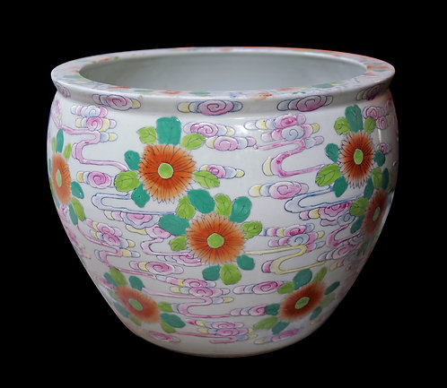 Goldfish and Flowers Pot