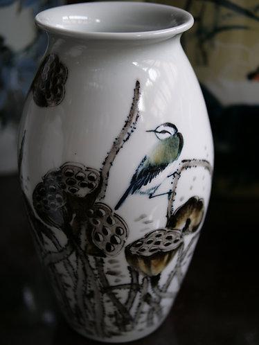 Handpainted Bird and Lotus White Vase (Design 1)
