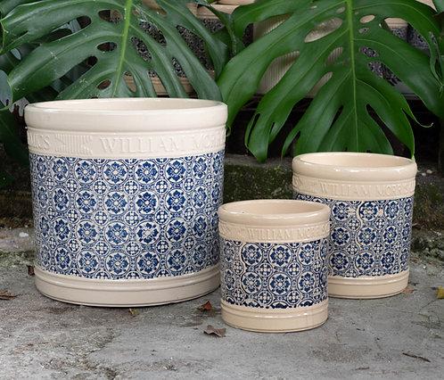 Vintage Style Patterned Pot (2 Designs, 3 Sizes)
