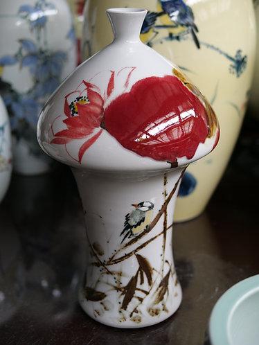 Handpainted Tall White Vase (Design 1)