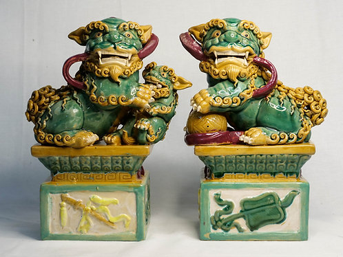 Green Guardian Lions on Pedestals (Pair)