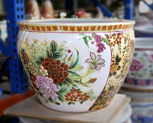 Floral Pot with Yellow Sides (Small)