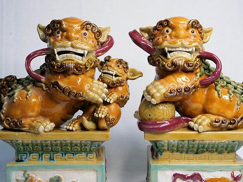 Orange Guardian Lions on Pedestals (Pair)
