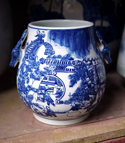 Blue and White Vase with Deer Head Handle