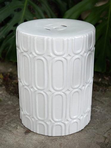White x Oval Patterns Stool