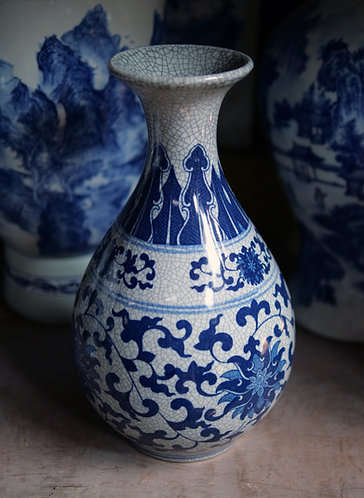 Blue and White Crackle Vase