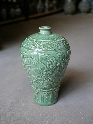 Celadon Green Vase - Phoenix and Flowers Relief Design