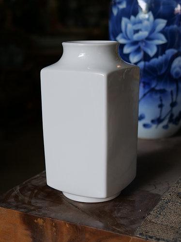 Four-Sided White Vase