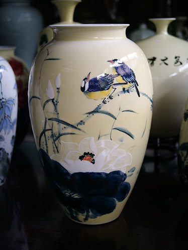 Pale Yellow Flowers and Birds Handpainted Vase