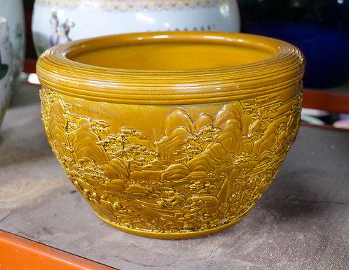 Carved Honey-Coloured Pot