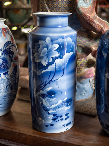 Blue and White Lotus and Fish Vase