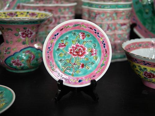 Peranakan Round Peony Plate (4 Colours)