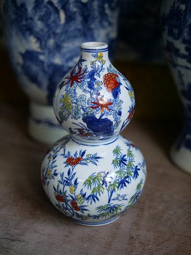 Multicoloured Blue and White Vase