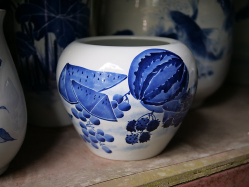 Blue and White Fruits Jar