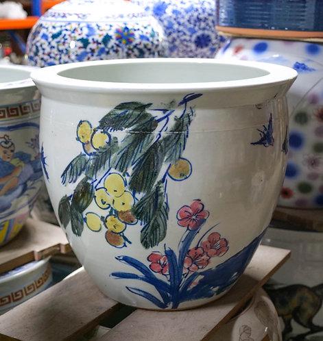Handpainted Bird and Flowers Pot