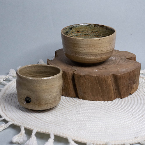 Dragon Kiln Fired Bowl and Cup