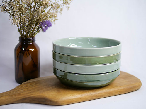 Jade Green Stackable Shallow Bowl (2 Colours)